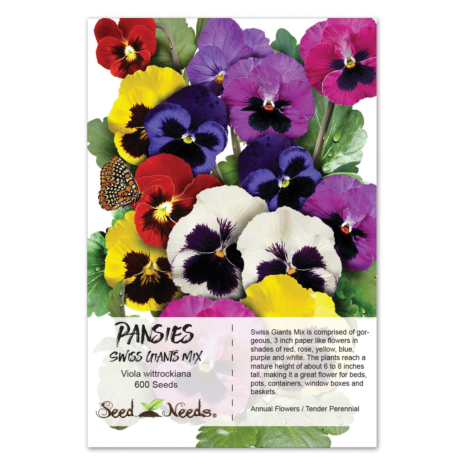 Amazon Package Of 600 Seeds Pansy Swiss Giants Mixture