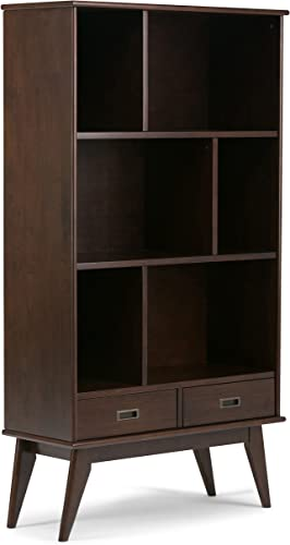 Simpli Home 3AXCDRP-13 Draper Solid Hardwood 64 inch x 35 inch Mid Century Modern Wide Bookcase and Storage Unit