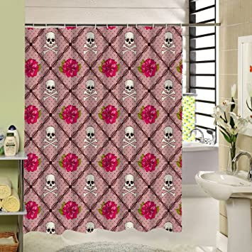 SeaCloud Checked Shower Curtain In PinkFloral Skull Pattern Polyester Fabric Bathroom Decor Waterproof