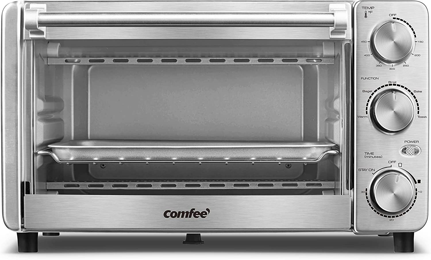 COMFEE' Toaster Oven, 4 Slice, 12L, Multi-function Stainless Steel Finish with Timer-Toast-Bake-Broil-Bagel-Warm Settings, 1100W, Perfect for Countertop (CFO-BG12(SS)) (Renewed)