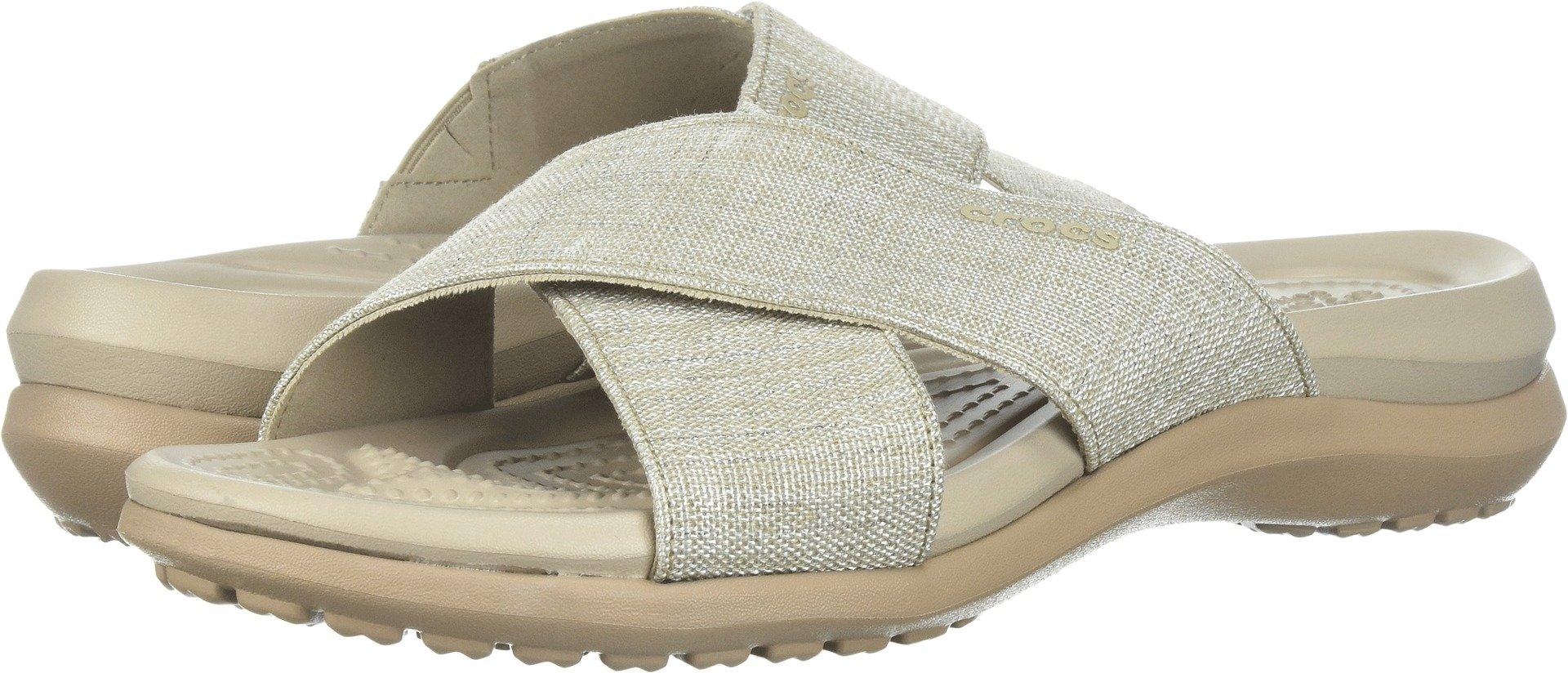 Crocs Women's Capri Shimmer Xband Sandal, Oyster/Cobblestone, 8 M US