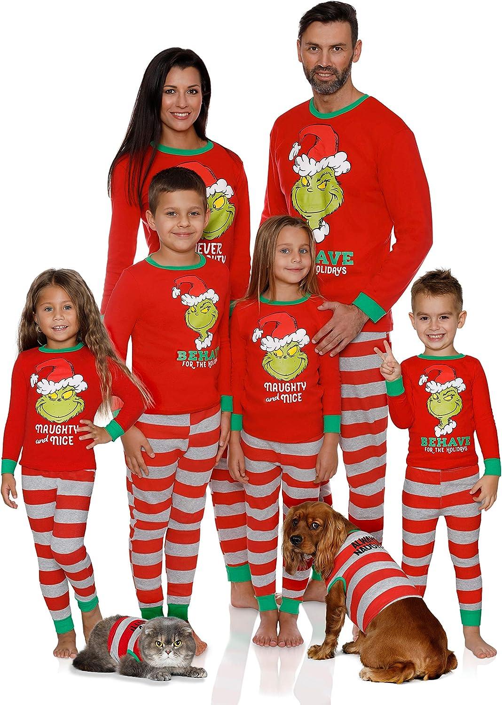 Dr. Seuss Holiday Grinch Pajamas Cotton - Family Christmas Pajamas Set, Red