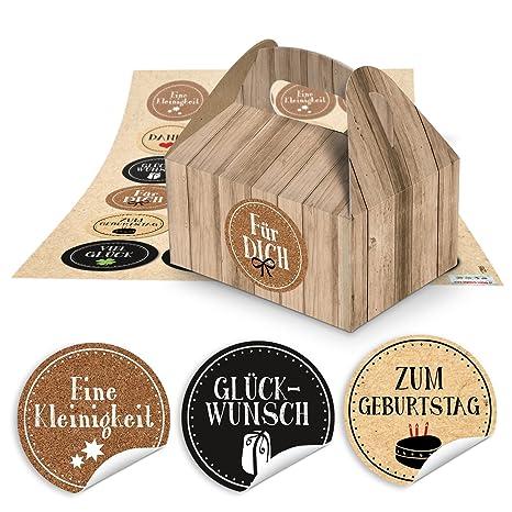 10 pequeñas cajas de regalo cajas aspecto de madera de marrón (9 x 12 x