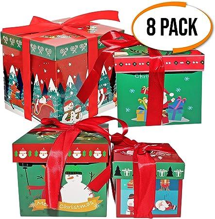 The Twiddlers 8 scatole Regalo a Tema Natalizio Perfetti Come Regali Box di Natale Decorazione 2 per Ogni Dimensione Confezioni 4 Disegni e Modelli accattivanti