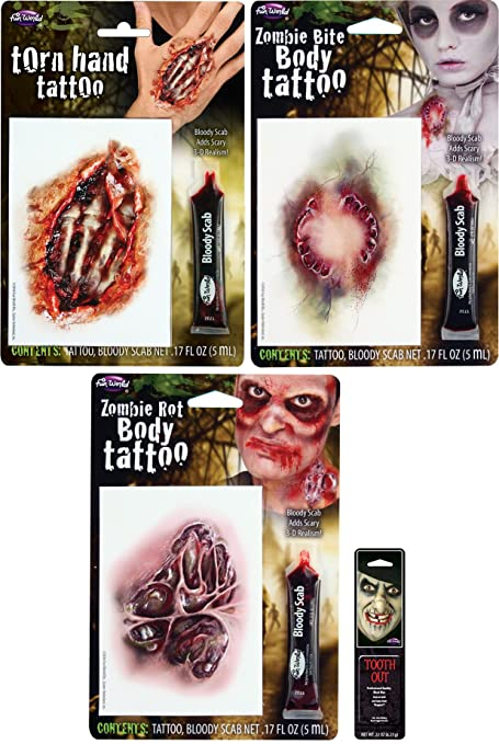 Potomac Banks (Set of 3 Realistic Scary Tattoos with Free Pack of Makeup