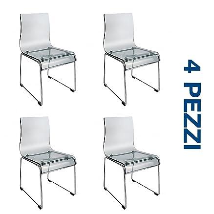 Set 4 (QUATTRO) Sedie Design in acrilico trasparente e metallo ...