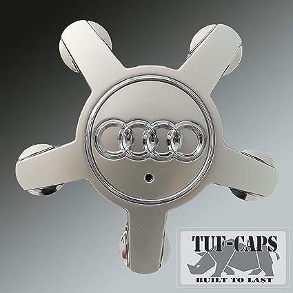 TUFF-CAPS Tapacubos para Llantas (134 mm, para Audi, A4, A5, A6, S6, Q5, Q7, R8, RS4, RS6, TTS, Line, Quattro), Juego de 4 Tapas de Repuesto para Parte no. 4F0601165 N Plata: