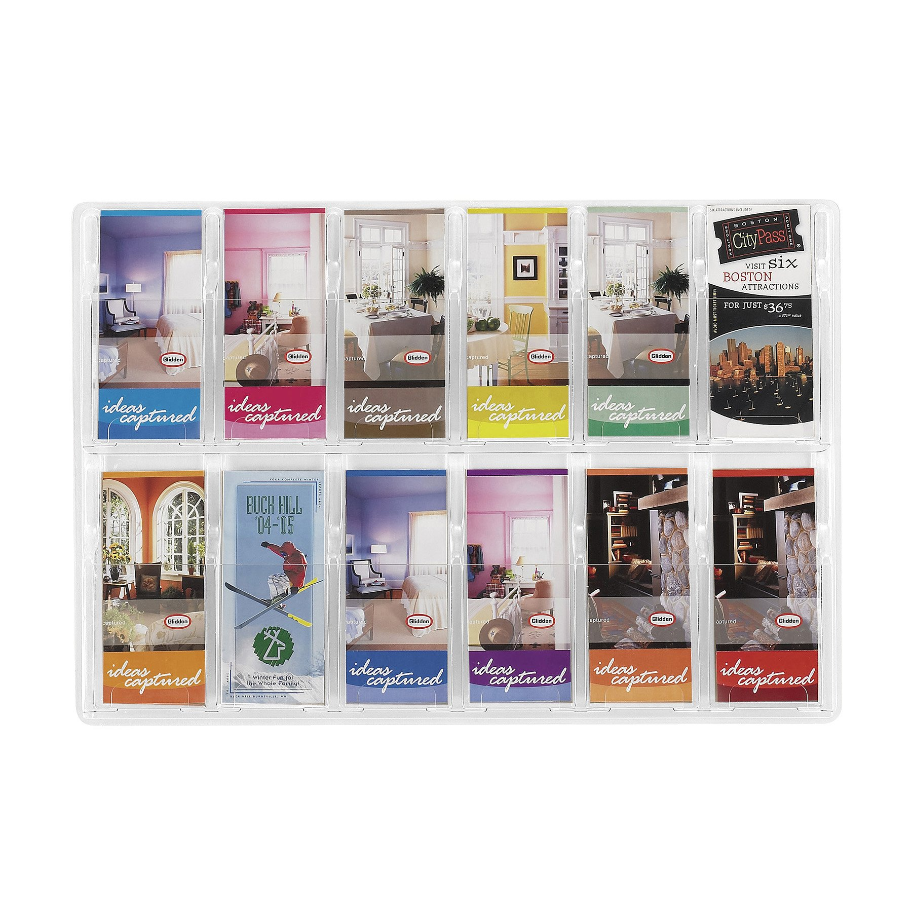 Safco Products Reveal 12 Pamphlet Display, 5604CL, Wall Mountable, Thermoformed Plastic Resin Construction, No Sharp Edges or Corners