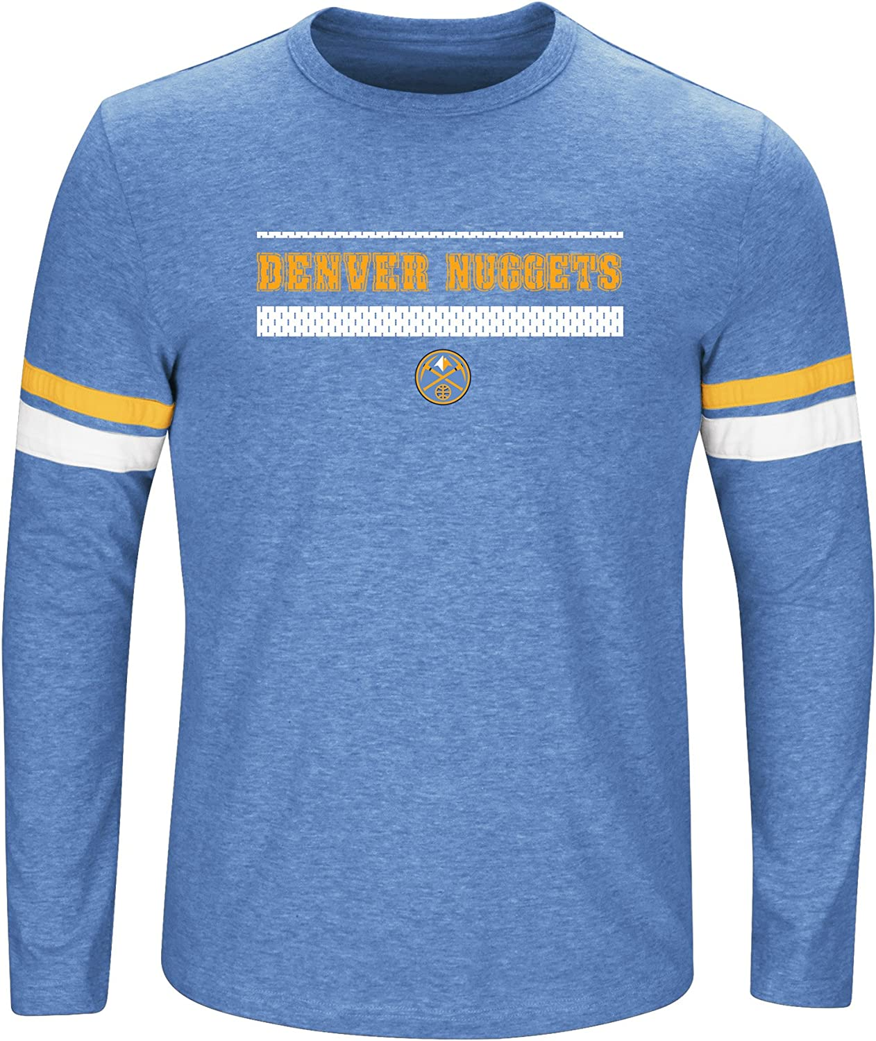 Coast Blue Heather//Gold 2X NBA Denver Nuggets Long Sleeve Screen Print Tee