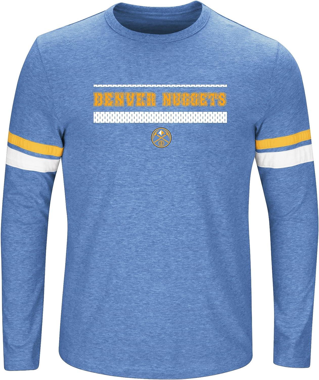 Coast Blue Heather//Gold 2X NBA Denver Nuggets Long Sleeve Screen Print Tee