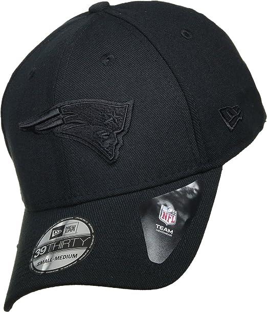 New Era 39Thirty Visera Curvada New England Patriots NFL Negro en Negro  Team Poly Ajuste Tramo Gorra de beisbols Tamaño Grande X Grande  Amazon.es   Ropa y ... 649ba70643b