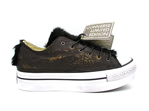 CONVERSE AS OX PLATFORM CANVAS/LEATHER SNEAKERS BRONZO NERO BIANCO 559065C