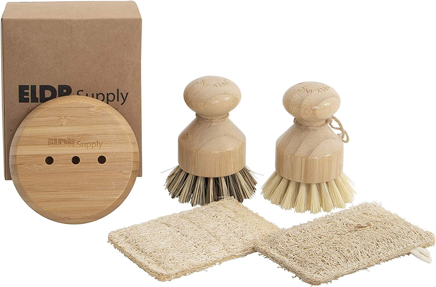 Zero Waste Dish Cleaning Starter Kit, Two Biodegradable Pot and Dish Brushes, Two Natural Loofah Sponges, Bamboo Soap Tray. Kitchen Set for Plates, Fruits, Vegetables, and Cast Iron Cookware