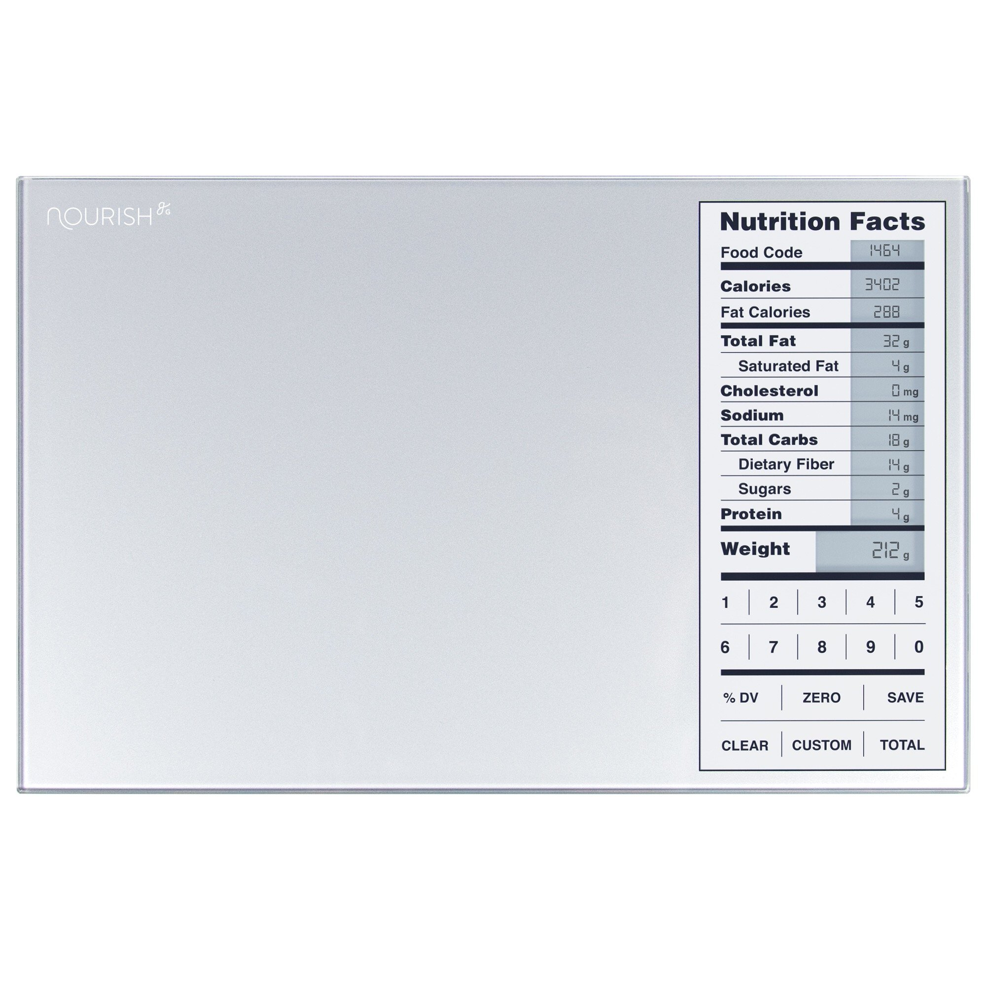 Greater Goods Nourish Digital Kitchen Food Scale and Portions Nutritional Facts Display