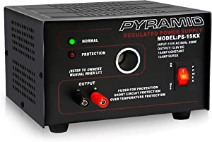Universal Compact Bench Power Supply - 10 Amp Linear Regulated Home Lab Benchtop AC-to-DC Converter w/ 13.8 Volt DC 115V AC 250W Input, Screw Type Terminal, 12V Car Cigarette Lighter- Pyramid PS15K.5
