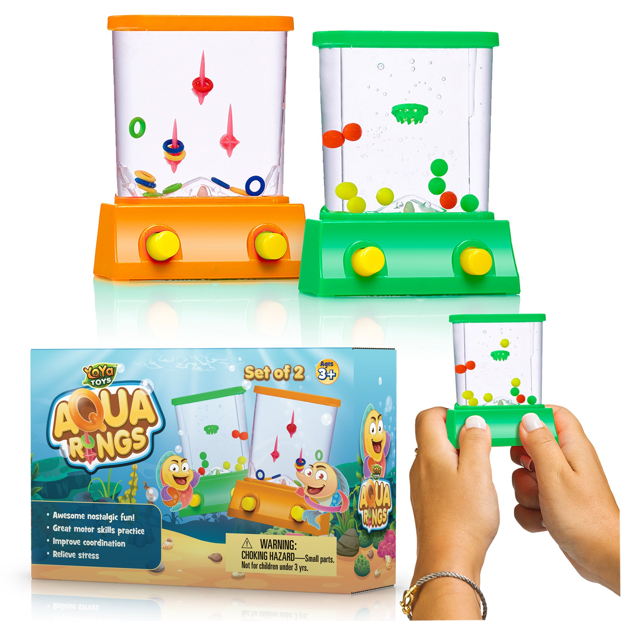 YoYa Toys Handheld Water Game A 2 Pack Set A Fish Ring Toss A Basketball Aqua Arcade Toy in 2 Compact Mini Retro Pastime Kids Adults in A Gift Box