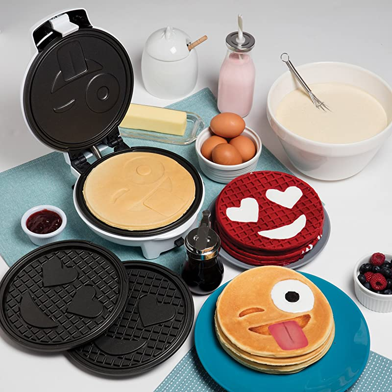 Emoji Waffler & Pancake Maker w Interchangeable Plates - Choose either 8