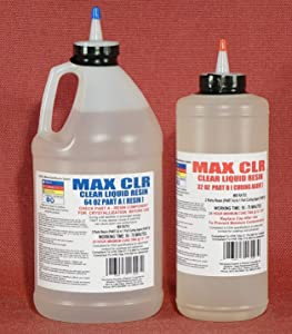 MAX CLR A/B Epoxy Resin System - 3/4 Gallon Kit - Food Safe, FDA Compliant Coating, Crystal Clear, Stain Resistant, Countertop and Tabletop Coatings, Wood Coatings, Fiberglassing Resin