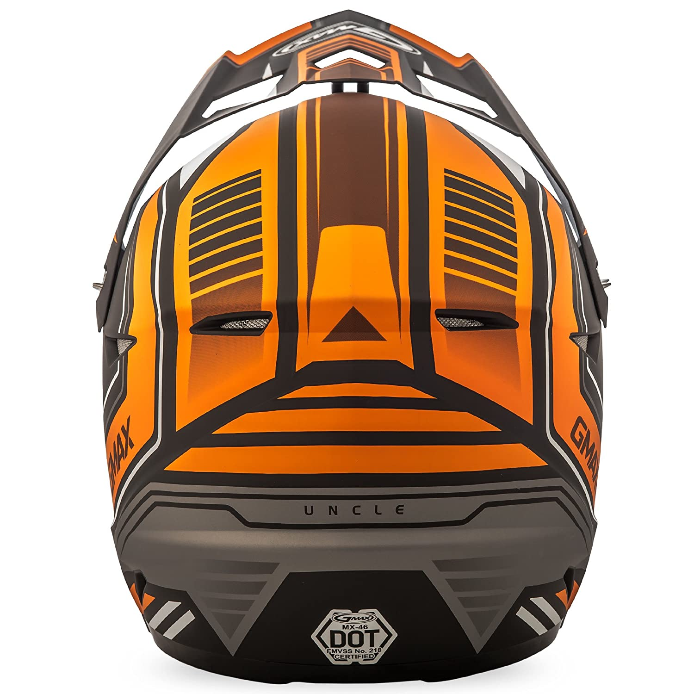 GMAX Unisex-Adult Full-face Style G3467253 TC-6 Mx46 Uncle Helmet Flat Black//Orange xs X-Small G3467253TC-6