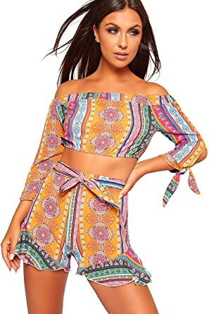 5124ddb5090f5c WearAll Women's Paisley Off Shoulder Bardot Hot Pants Crop Top Co-Ord Set  Ladies Shorts - Mustard - 10: Amazon.co.uk: Clothing