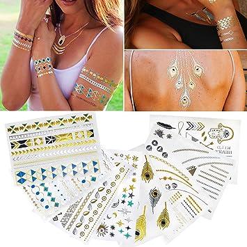 Tatuajes temporales metálicos adhesivos para el cuerpo, diseño ...