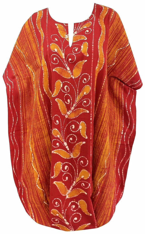 La Leela Baumwolle Hand Batik Farn Strandbadebekleidung Tunika Sommerkleid Kaftan Orange