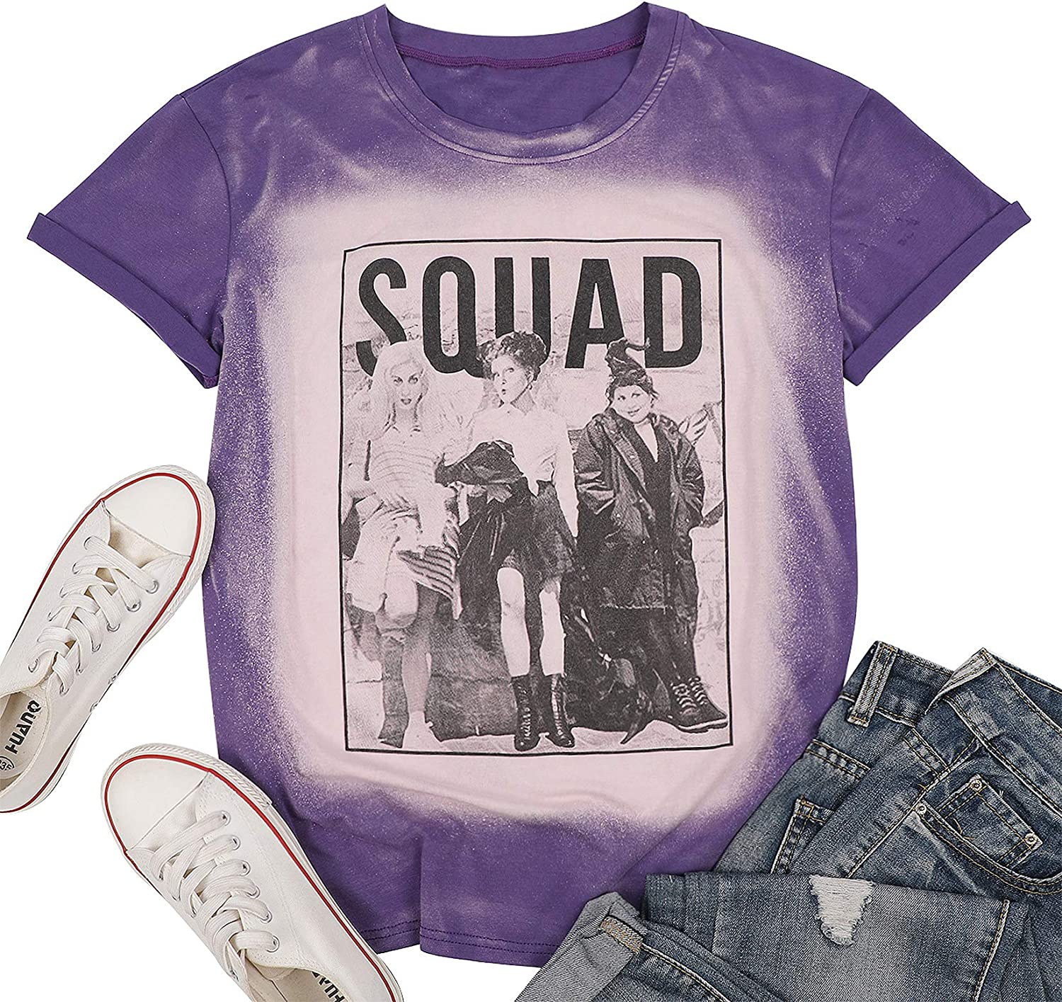 Womens Halloween Squad T-Shirt Funny Sanderson Sisters Graphic Tee Top Shirts