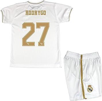 Real Madrid Conjunto Camiseta y Pantalón Primera Equipación Infantil Rodrygo Producto Oficial Licenciado Temporada 2019-2020 Color Blanco (Blanco, Talla 10): Amazon.es: Deportes y aire libre