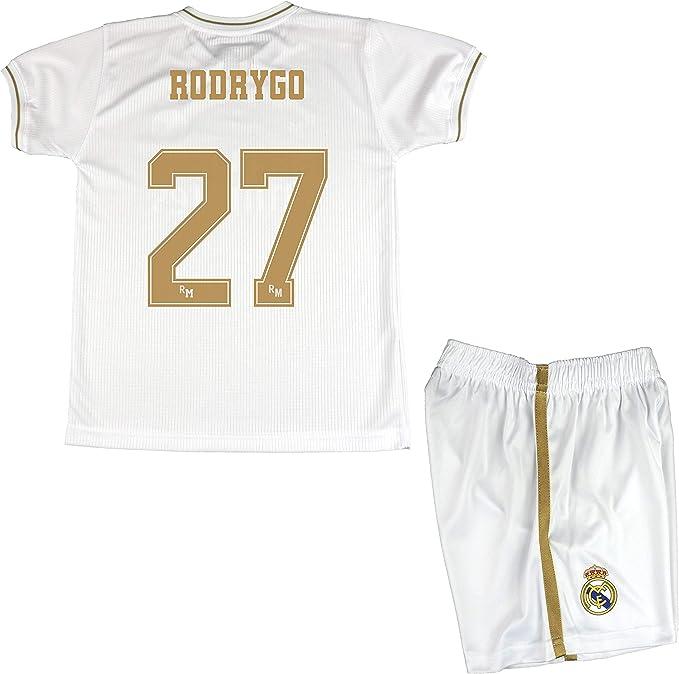 Blanco, Talla 12 Real Madrid Conjunto Camiseta y Pantal/ón Primera Equipaci/ón Infantil Producto Oficial Licenciado Temporada 2019-2020 Color Blanco Sin Dorsal