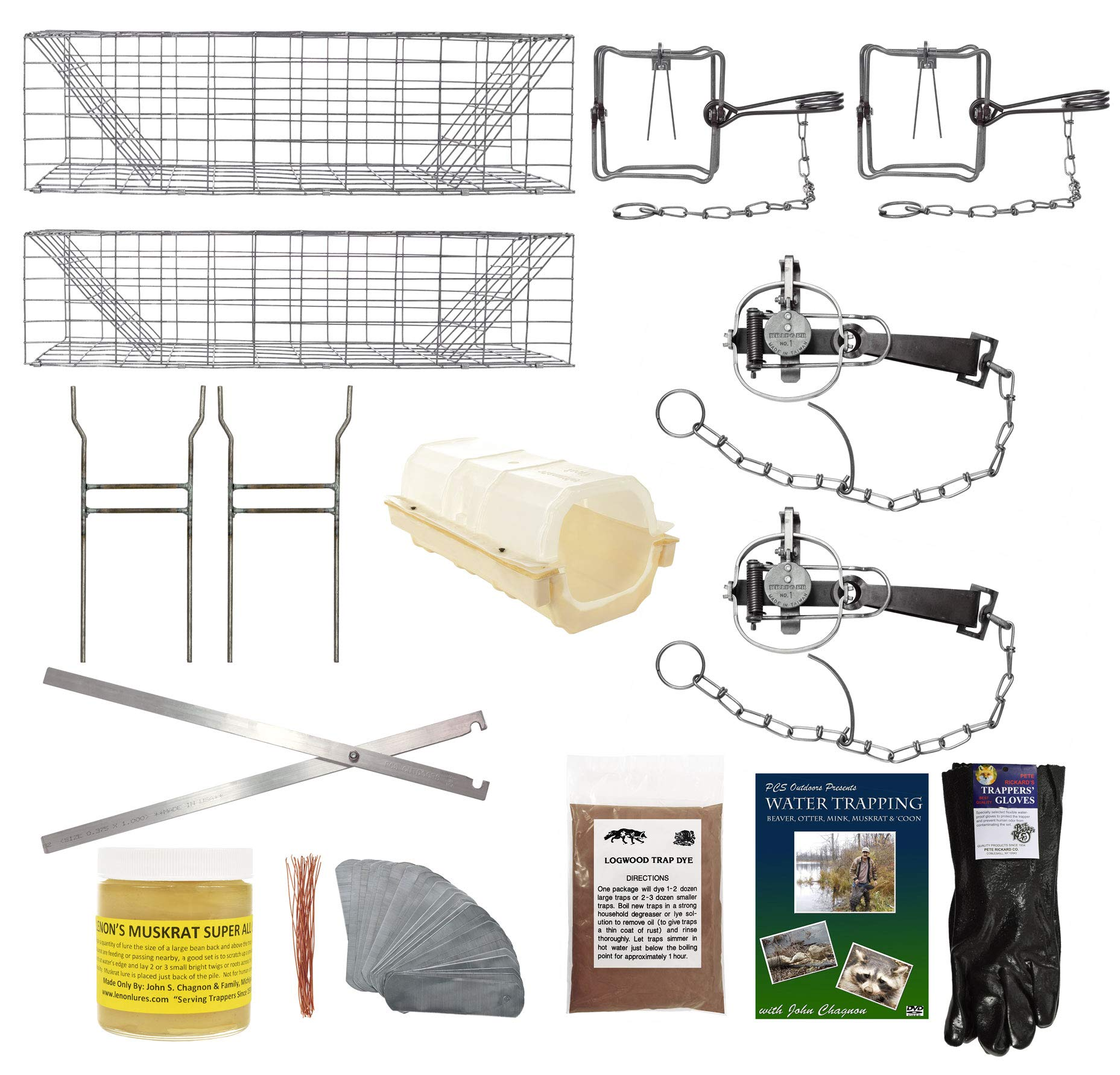 PcsOutdoors Standard Muskrat Trapping Starter Kit (14 Pieces) USA Made Kit