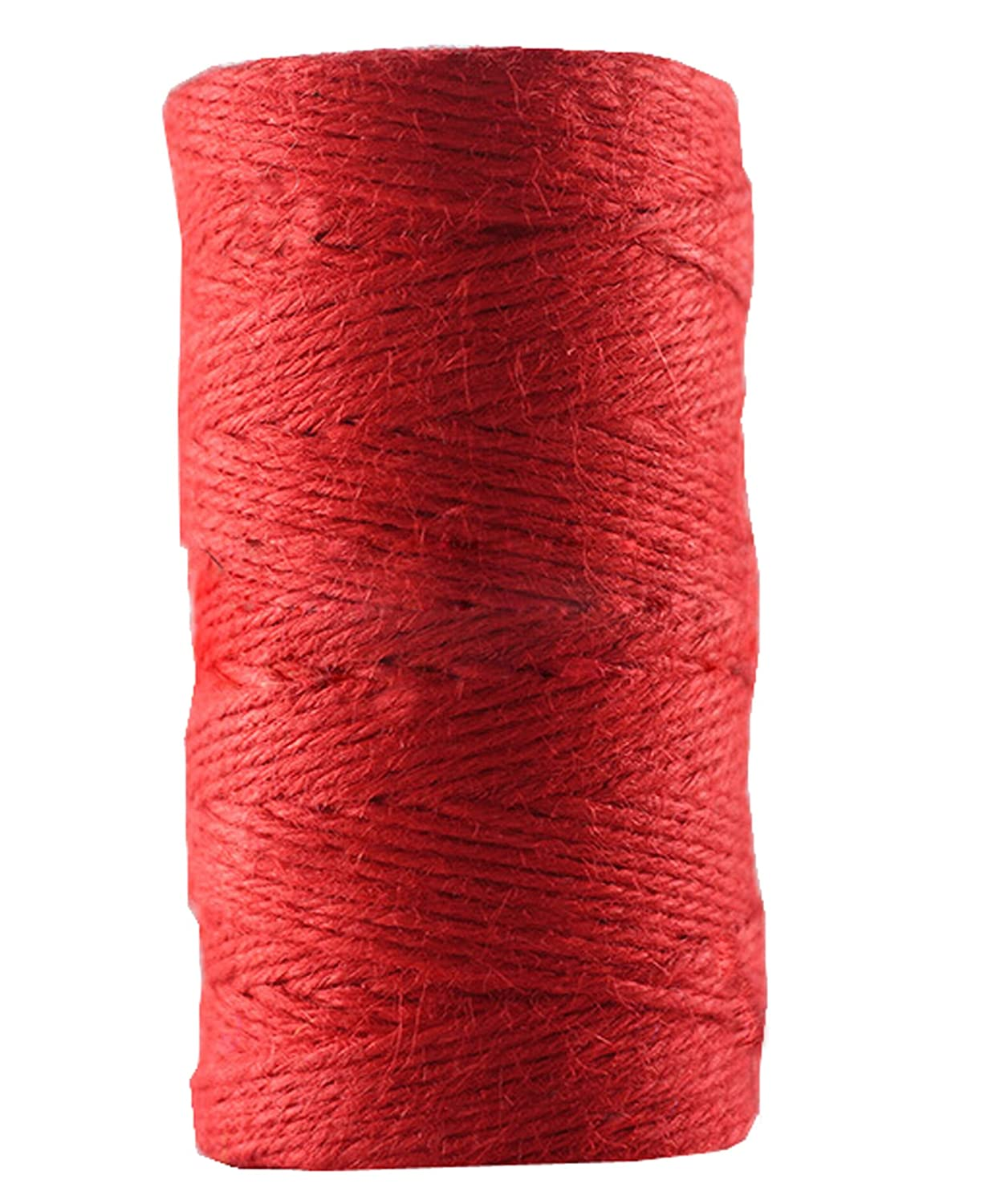 Huachnet Red Jute Twine Best Arts Crafts Twine Industrial Packing Materials Heavy Duty Durable Natural Twine 4 Strands for Gardening Applications-2mm(W)*100 Meters(L) 6539529