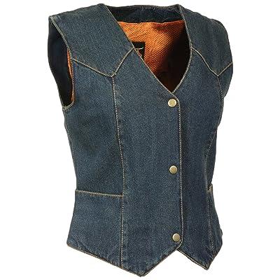 Milwaukee Women's 4 Front Snap Denim Vest (Blue, X-Small) (14/12 OZ DEN): Automotive
