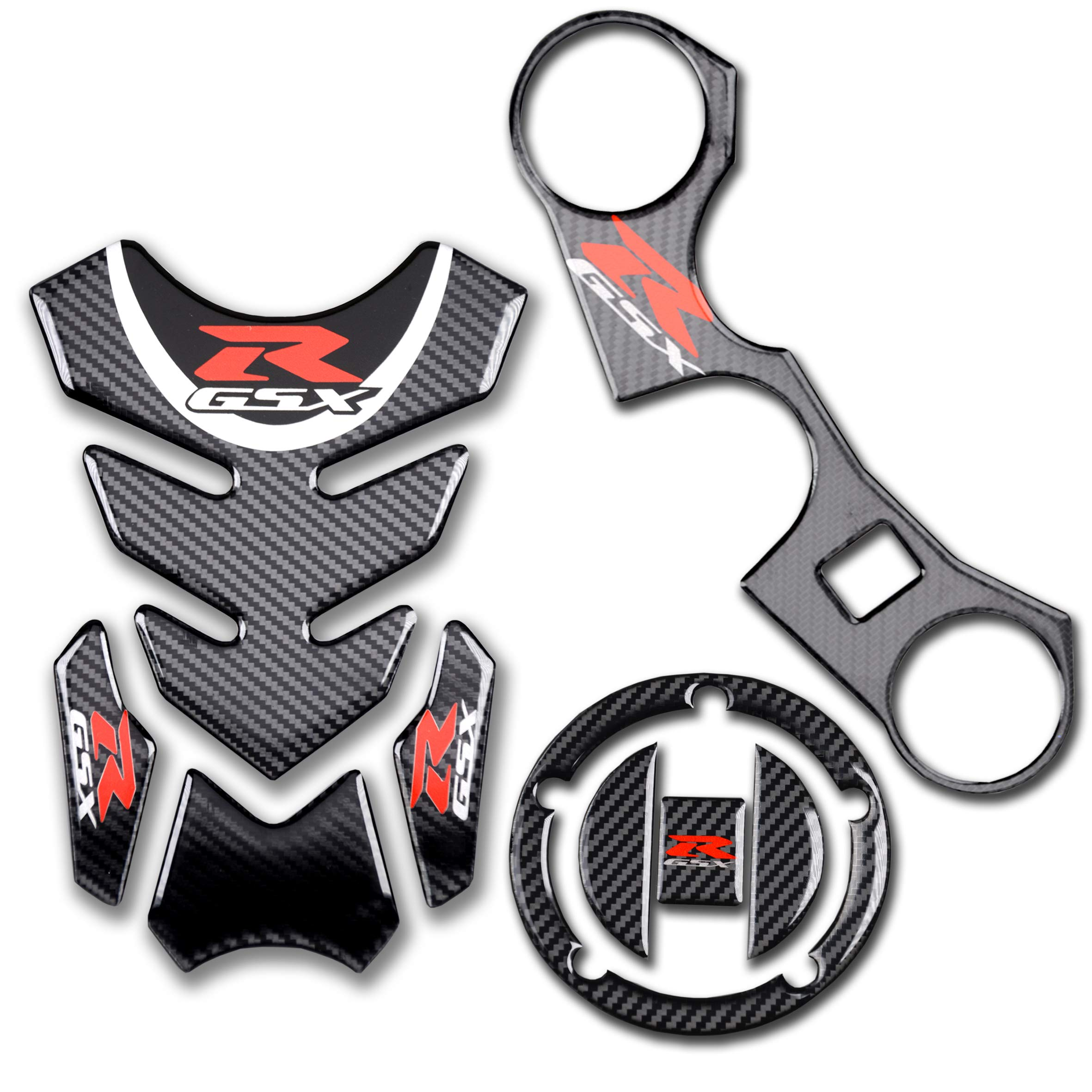 REVSOSTAR Real Carbon Fibre Gas Cap, Tank Pad,Triple Tree Front End Upper, Top Clamp Decal Stickers, Tank Pad, Tank Protector for GSXR 600 GSXR 750 GSXR 1000 K6 K7 K8 K9 L1 2006-2017,3 Pcs Per Set by REVSOSTAR