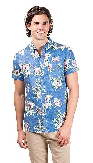 2aa8a99b Brooklyn Athletics Men's Hawaiian Aloha Shirt Vintage Casual Button Down Tee,  Light Blue Floral,
