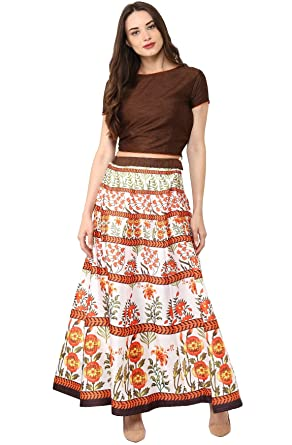 02a43fc60 Janasya Women's Floral Printed Banglori Silk Skirt with Crop-Top ...