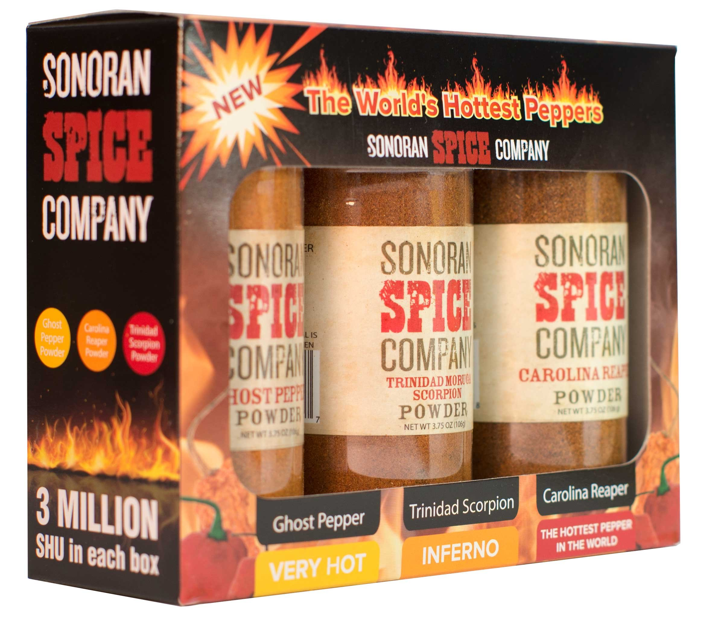 Carolina Reaper, Trinidad Scorpion, Ghost Pepper 3.75 Oz Powder Gift Box