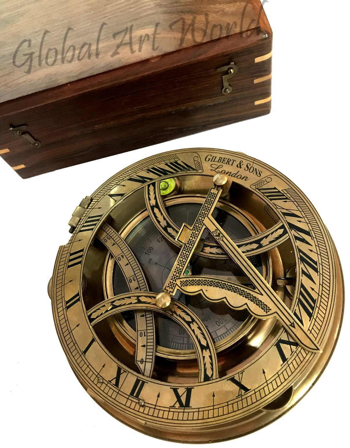 Global Art World Nautical Old Maritime Vintage Brown Antique Brass Collectible Authentic Gilbert & Son London Sunclock Sundial Compass Along With A Box SC 097