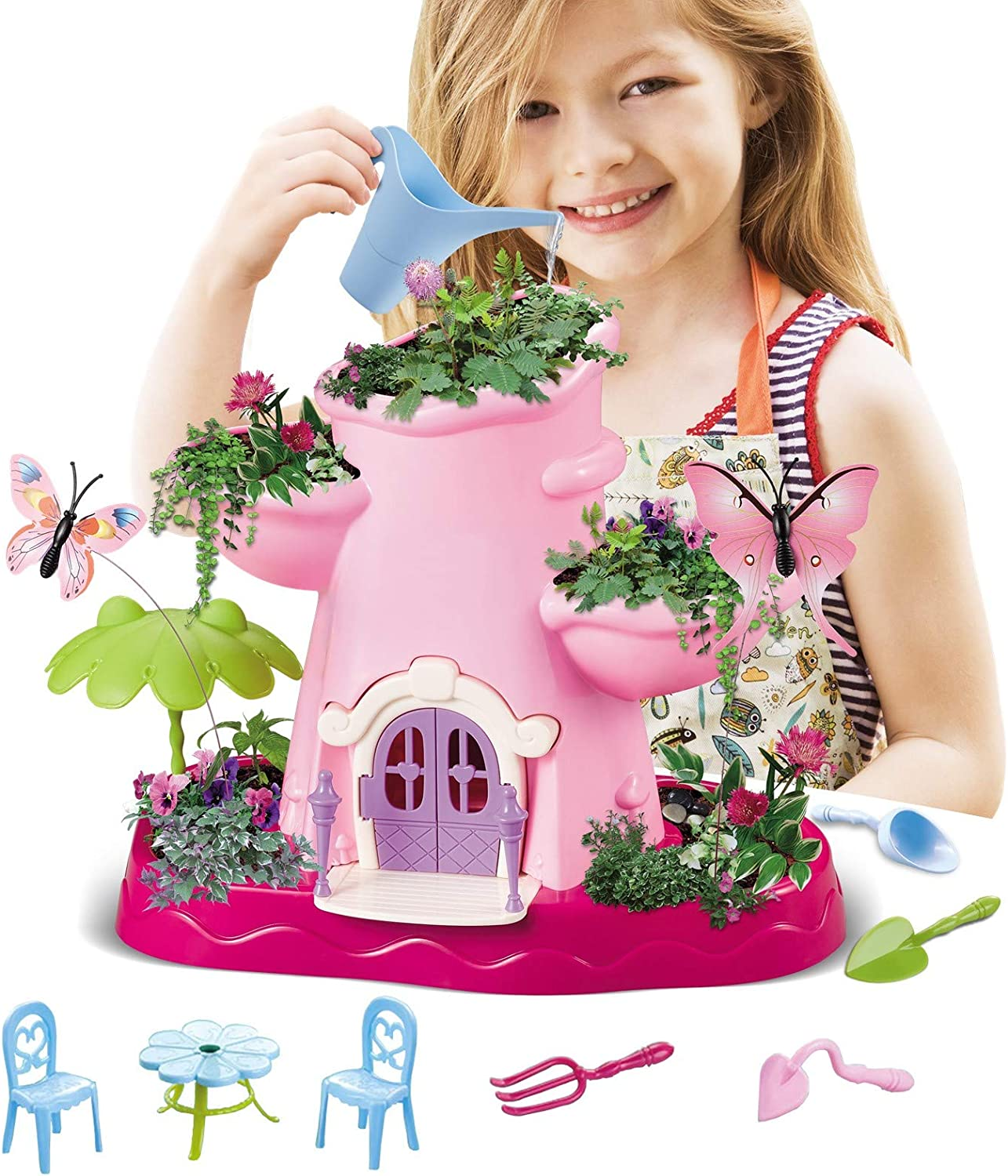 Vokodo Kids Magical Garden Growing Kit Includes Tools Seeds Soil Flower Plant Tree Interactive Play Fairy Toys Inspires Horticulture Learning Great Gift for Children Girls Pink