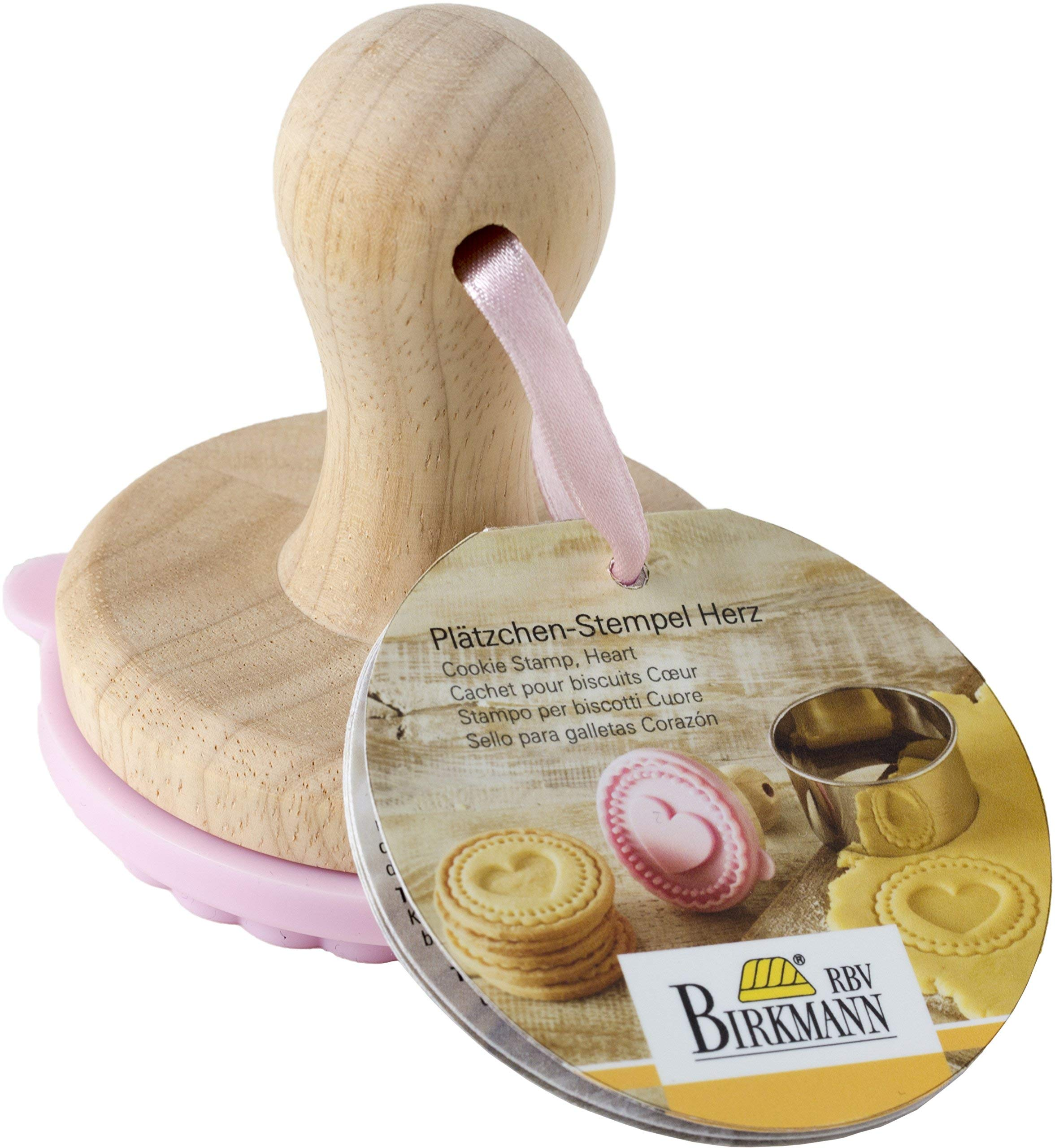 Heart Cookie Stamp - Wooden Handle with Silicone by rbv birkmann (Image #1)