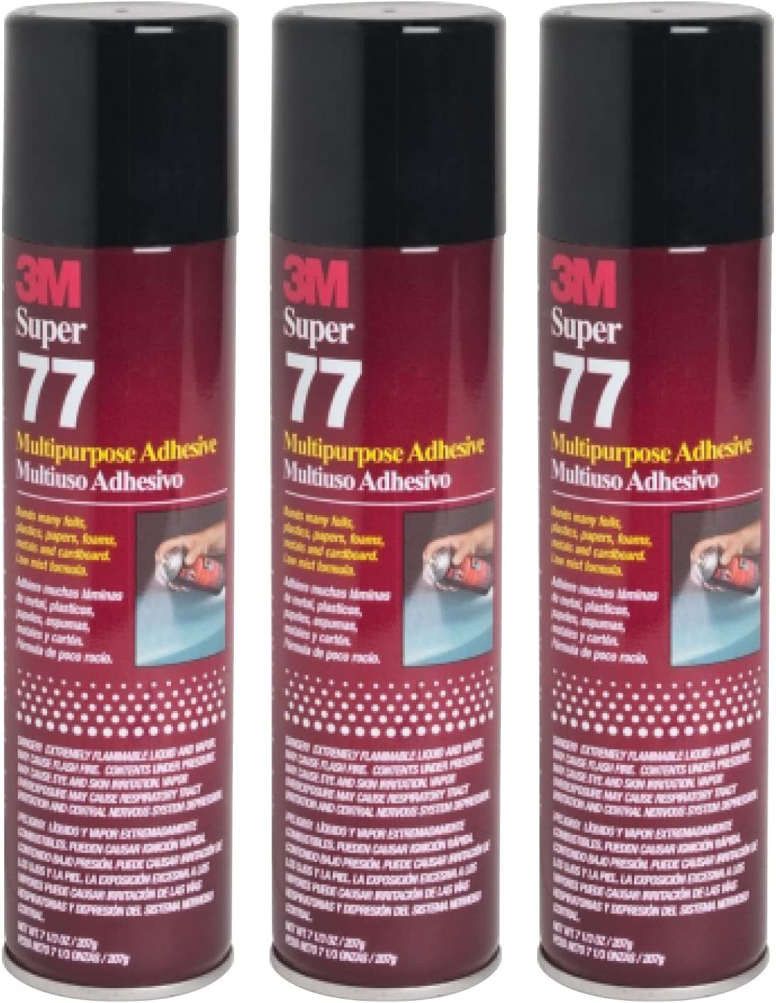 QTY3 3M SUPER 77 7.3 OZ Spray Glue Adhesive CAN for CAR Audio Competition Box
