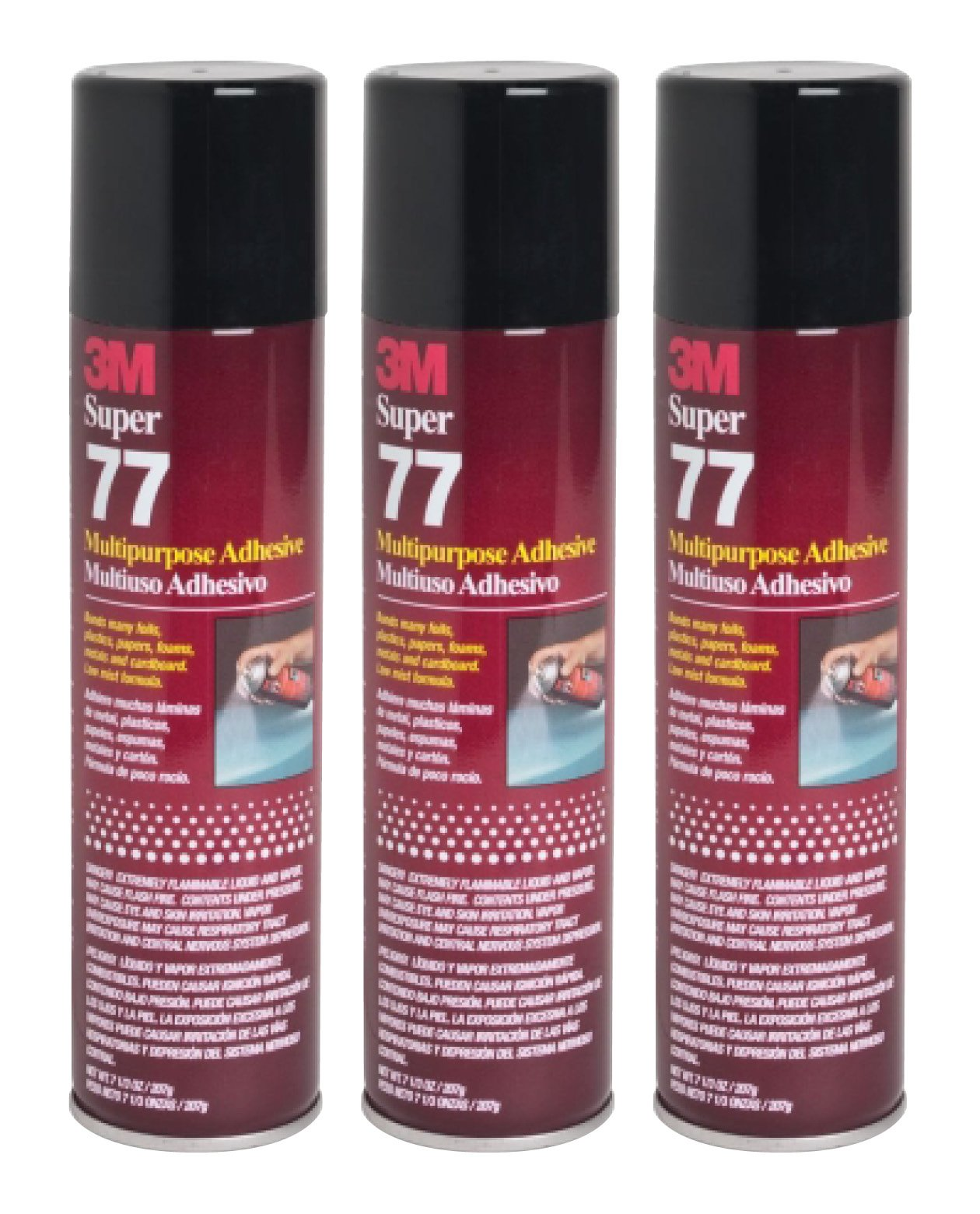 QTY3 3M SUPER 77 7.3 OZ LARGE SPRAY GLUE CAN MULTIPURPOSE ADHESIVE by 3M SUPER 77
