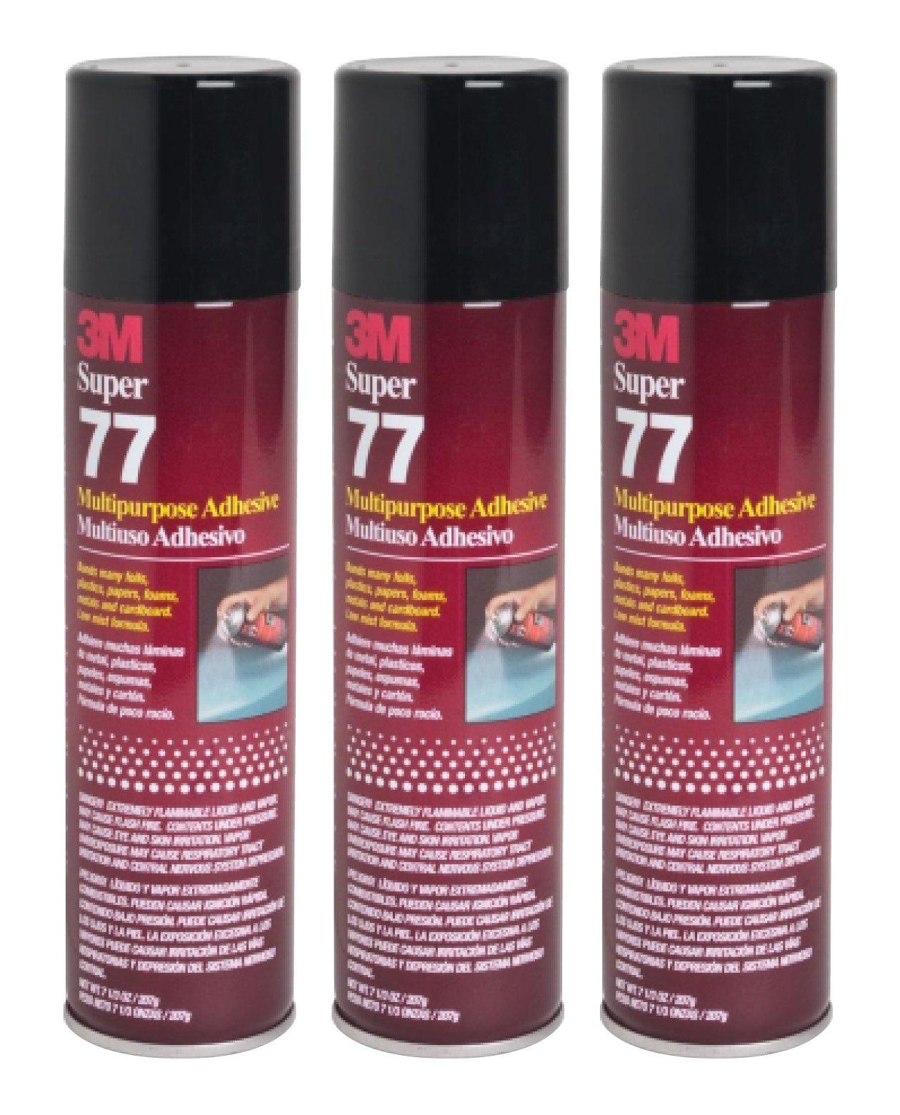 QTY3 3M SUPER 77 7.3 OZ LARGE SPRAY GLUE CAN MULTIPURPOSE ADHESIVE