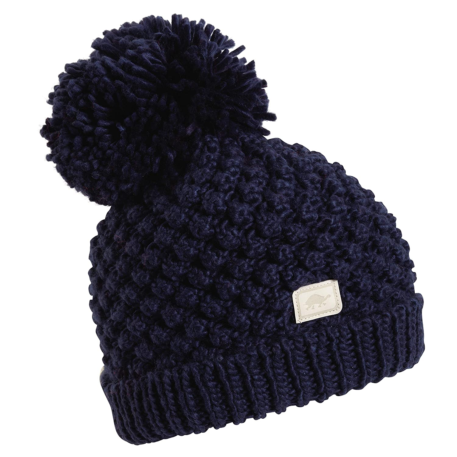 72ee243010a Amazon.com   Turtle Fur Pop Up Women s Hand Knit Fleece Lined Pom Winter Hat  Navy   Sports   Outdoors