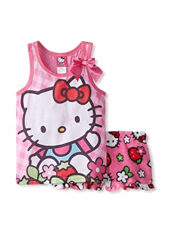 Hello Kitty Girls Tank Top and Boxer 2 Piece Pajama Set (10, Assorted)