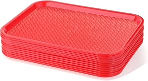 New Star Foodservice 24487 Red Plastic Fast Food Tray, 10 by 14-Inch, Set of 12