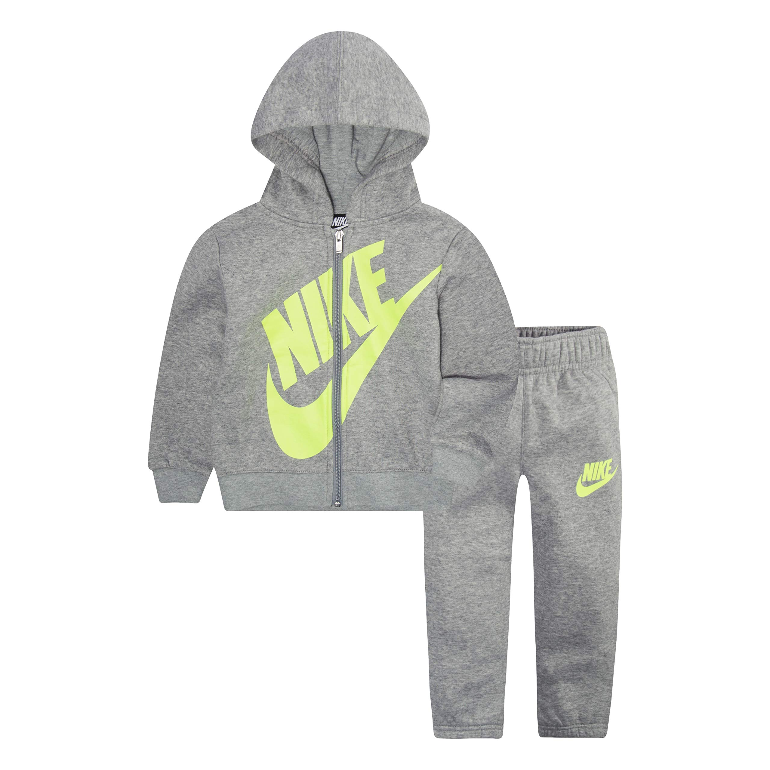 NIKE Children's Apparel Baby Boys' Toddler Hoodie and Joggers 2-Piece Outfit Set, Dark Grey Heather/Volt, 3T