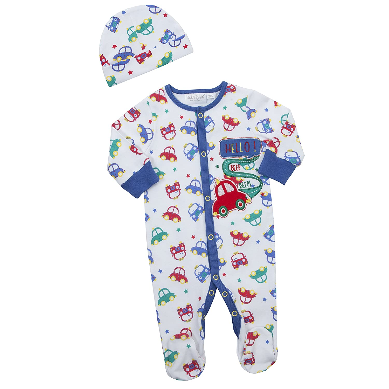 BABY TOWN Babytown Baby Boys Car Design Sleepsuit & Hat Set