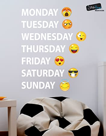 Amazoncom Days Of The Week Emoji Faces Vinyl Wall Decal Sticker - Emoji wall decals