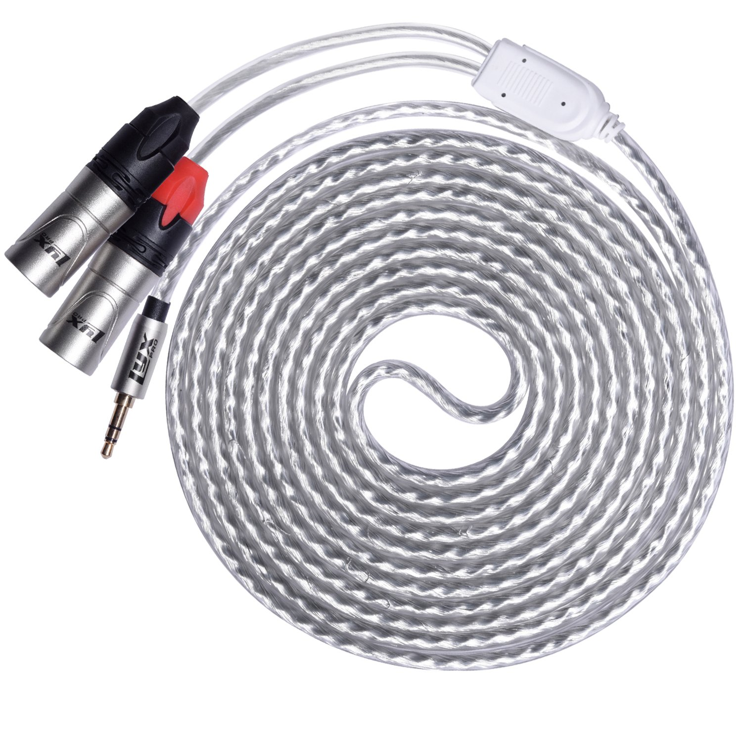 LyxPro Y-Cable 3.5mm TRS Male to Dual XLR Male Stereo Audio Y-Splitter Adapter Cable - 10 Feet