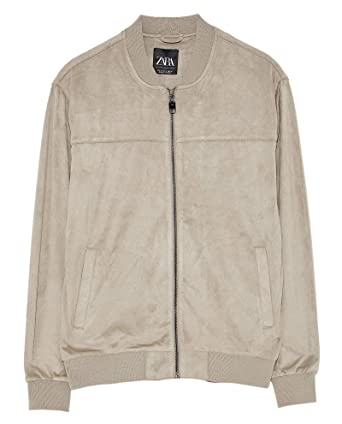 e9fd8eed Zara Men's Suede Effect Jacket 8418/405 Grey: Amazon.co.uk: Clothing